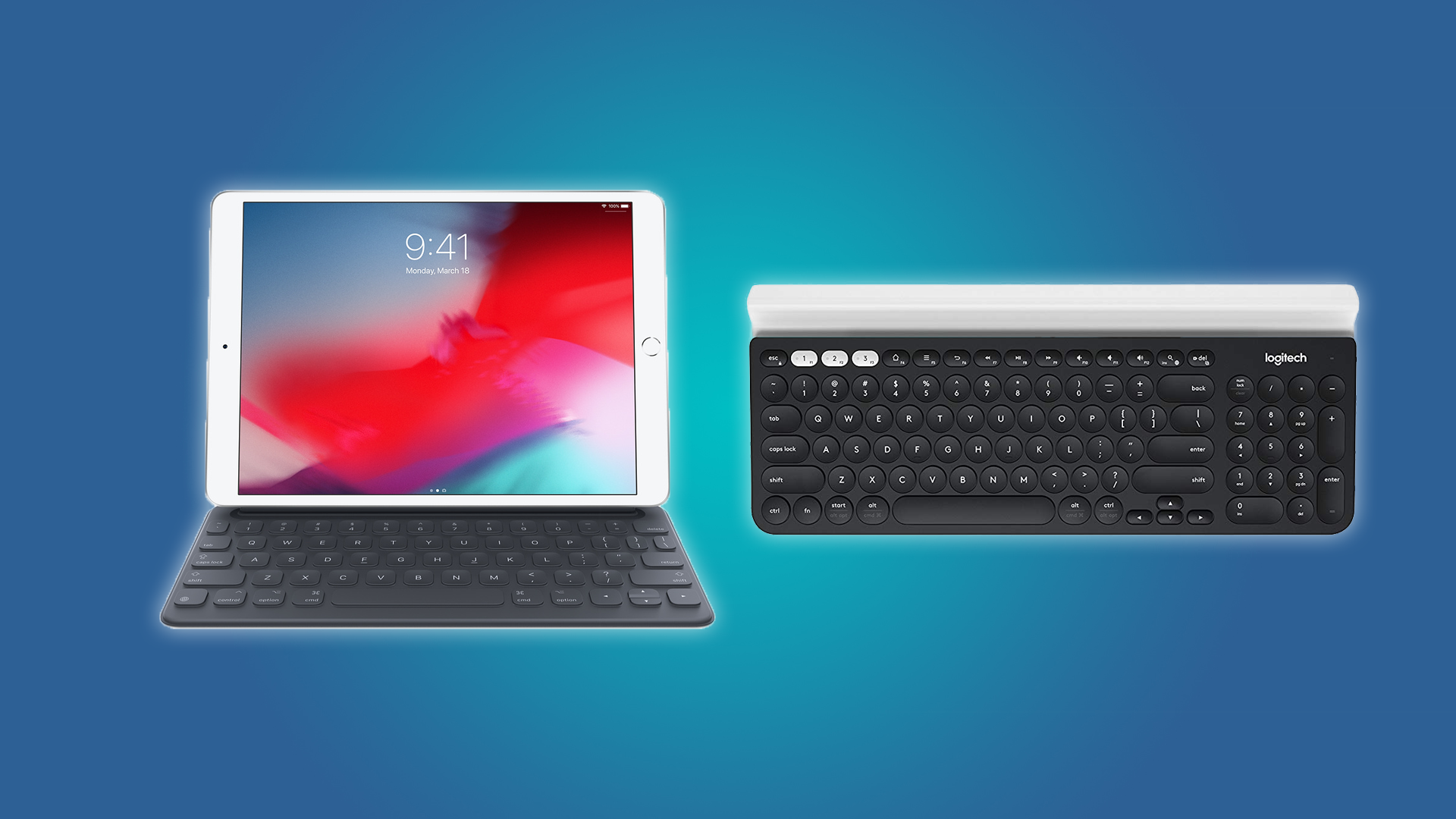 An official Apple keyboard and the Logitech K780