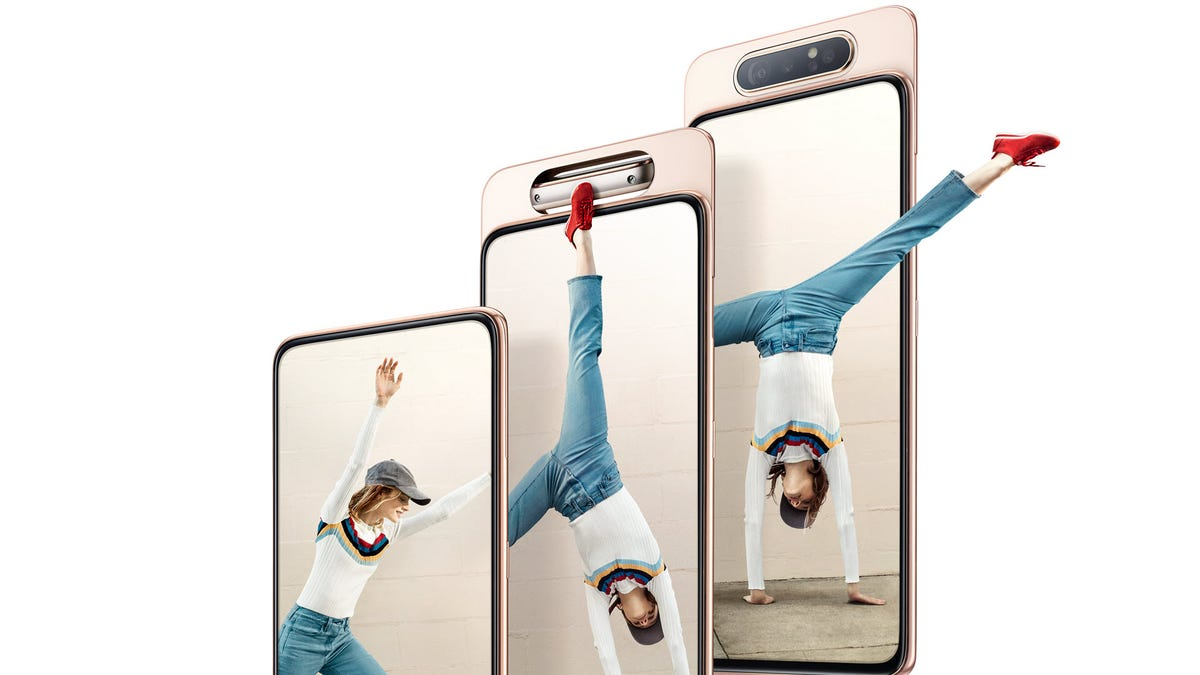 Three Galaxy A80's, each with camera in different position of sliding and rotating