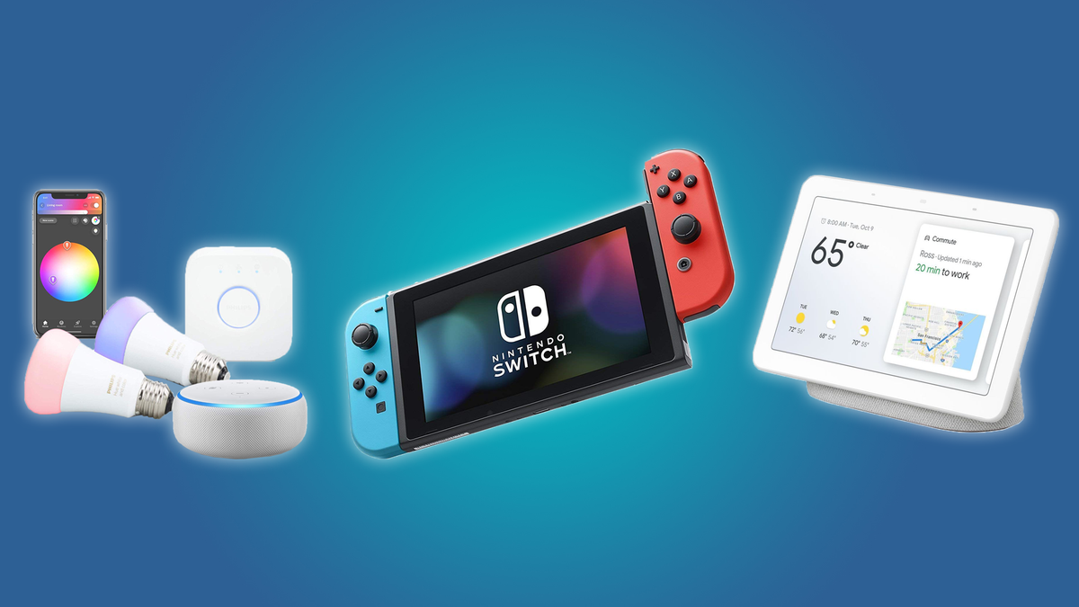 Philips Hue Set with an Echo Dot, the Nintendo Switch, and a Google Home Hub