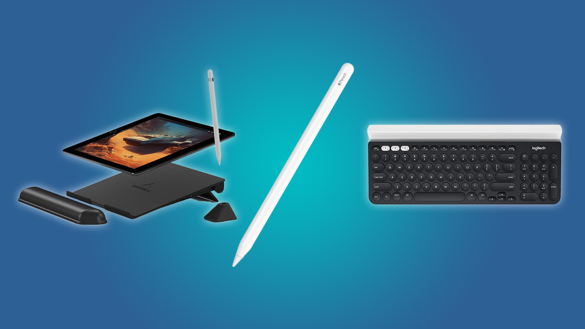 The Apple Pencil, the Logitech K780, and the Elevation Lab Tablet Stand