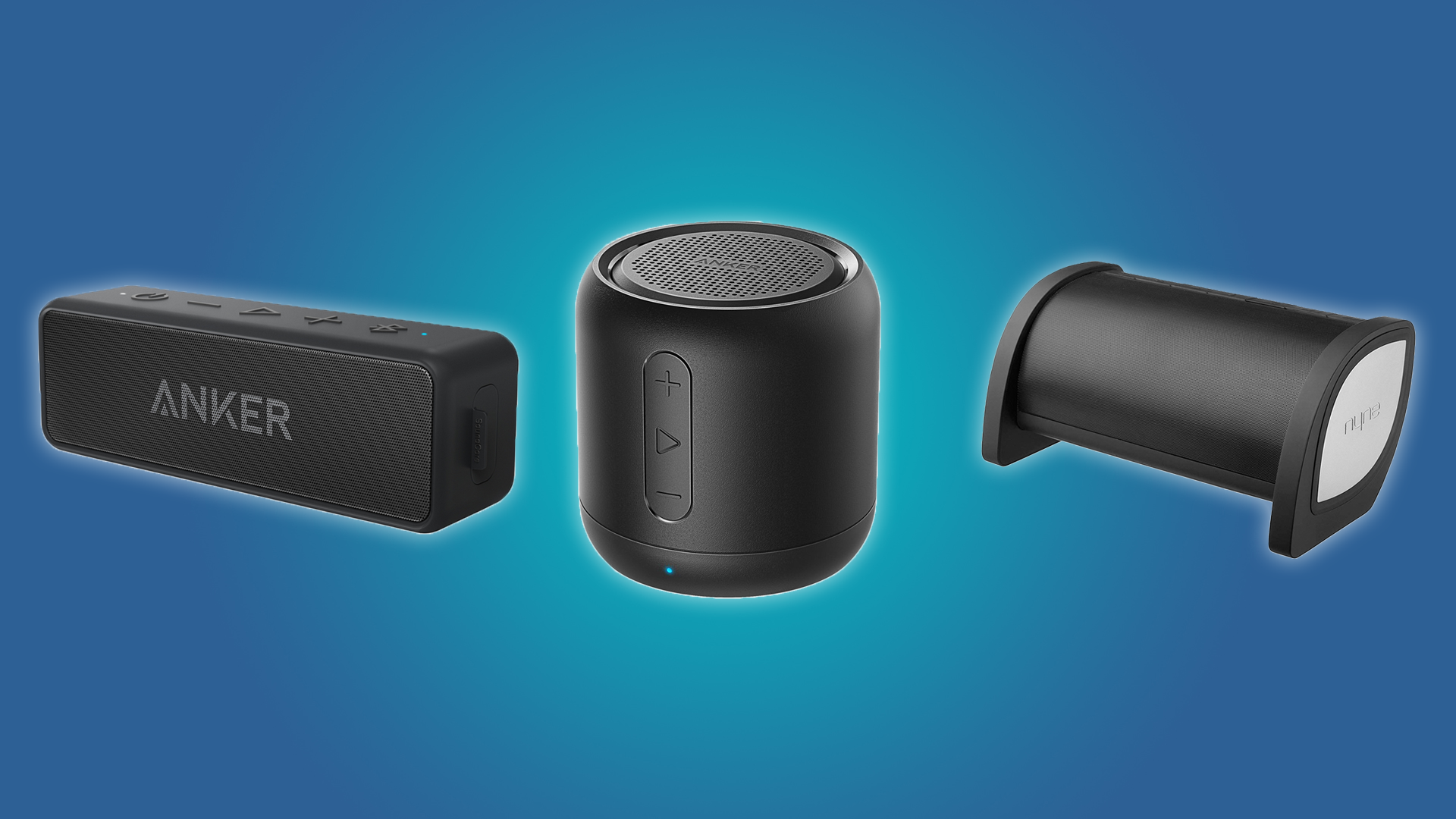 The NYNE Bass, Anker SoundCore Mini, and Anker SoundCore 2 Bluetooth Speakers