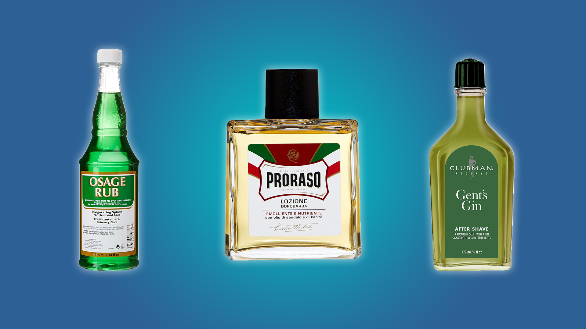The Gent's Gin, Osage Rub, and Proraso Aftershaves