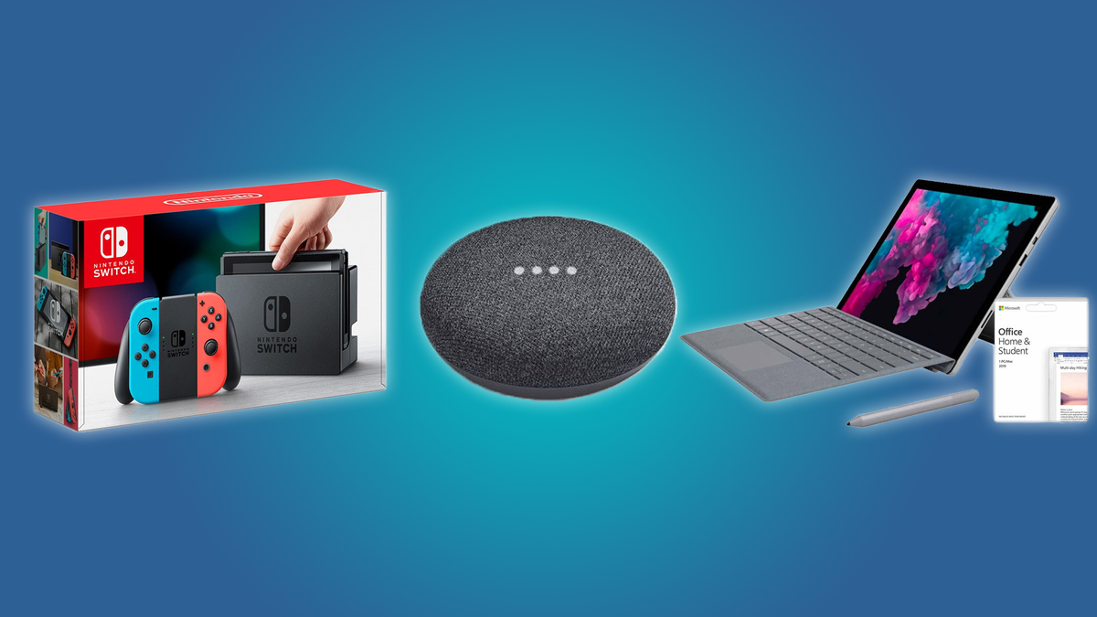 The Nintendo Switch, the Google Home MIni, and the Microsoft Surface Pro 6