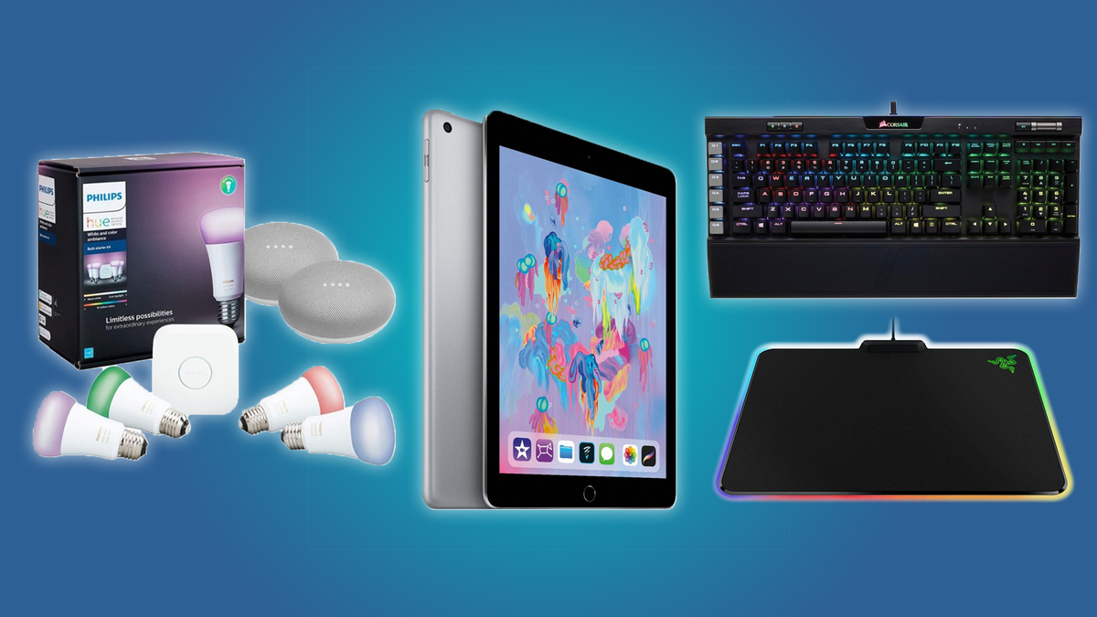 The Philips Hue and Google Home Mini kit, the iPad, the CORSAIR K93, and the Razer Firefly