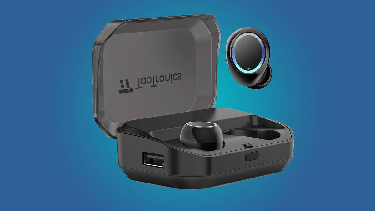 A set of TaoTronics Wireless Earbuds and their case.