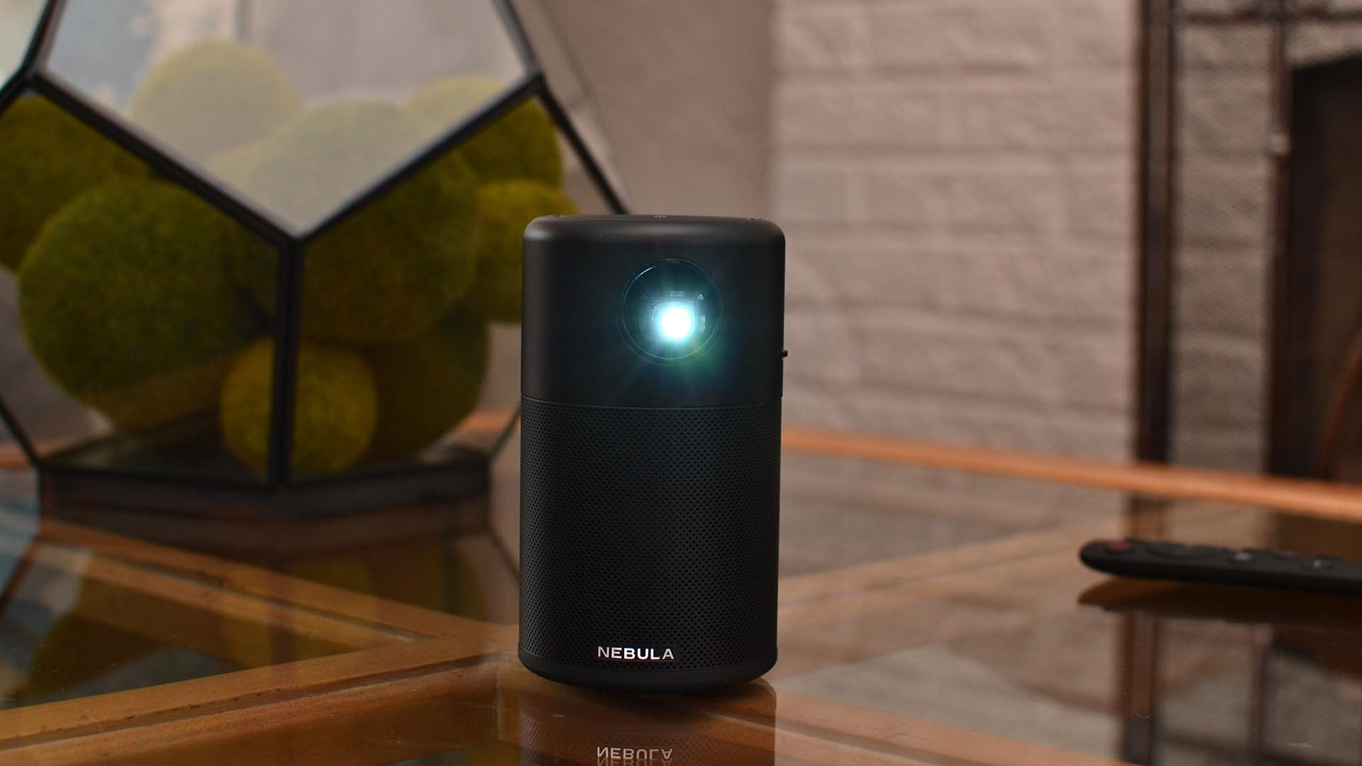 Nebula Capsule projector with the bulb on