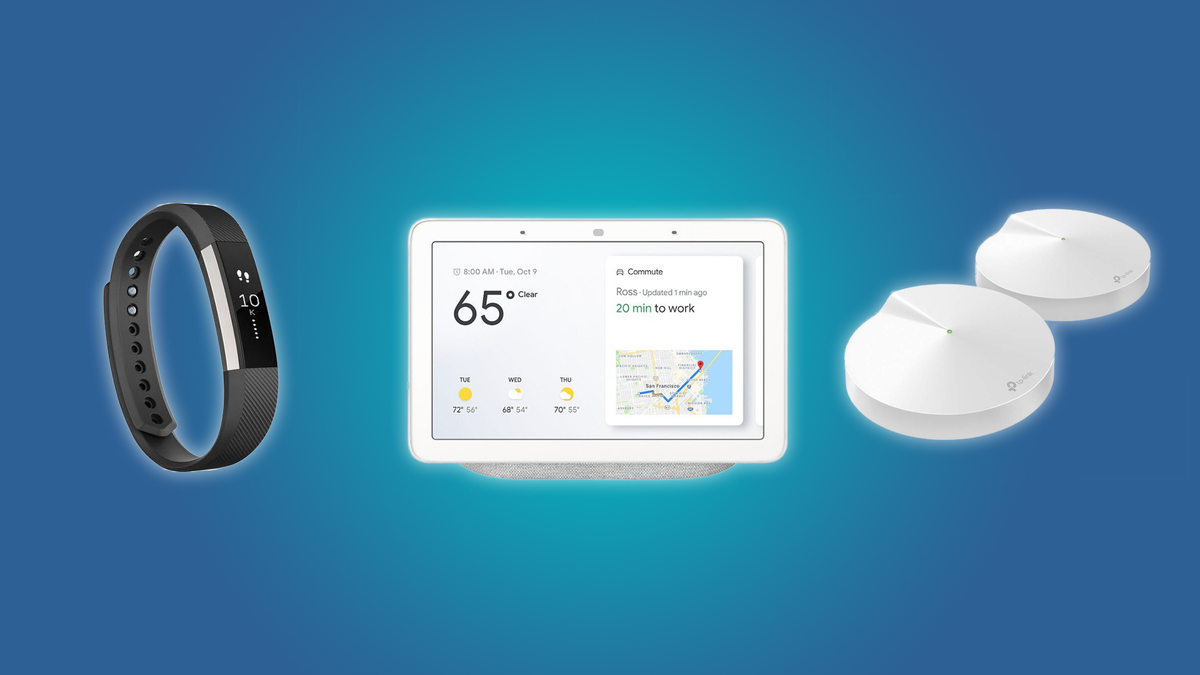 The FitBit Alta, the Google Nest Hub, and the TP-Link Deco Mesh Wi-Fi System