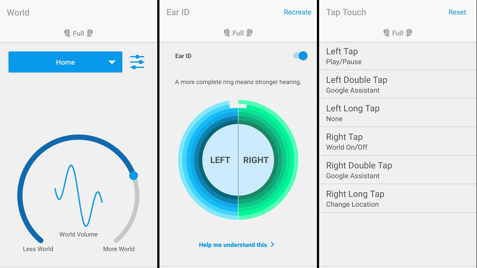 Images of the Nuheara app showing hearing profiles and tap controls.