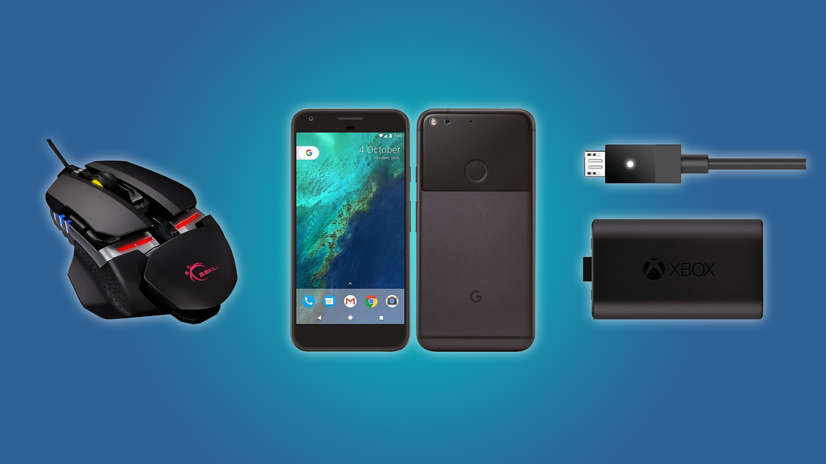 The G.SKILL RIPJAWS Gaming Mouse, the Google Pixel XL, and the Xbox Rechargeable Battery