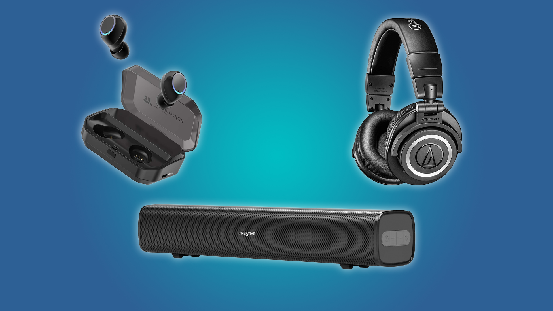 The Creative Stage Air Soundbar, the TaoTronics Earbuds, and the Audio-Technica ATH-M50xBT
