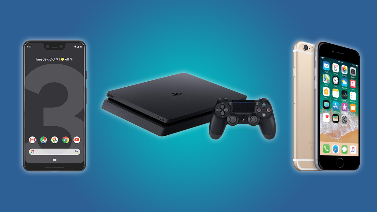 The Google Pixel 3 XL, the PlayStation 4 Slim, and the iPhone 6