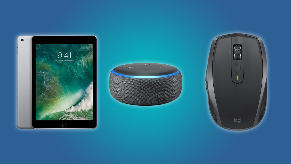 The iPad 2017 Model, the Echo Dot, and the Logitech MX Anywhere Mouse
