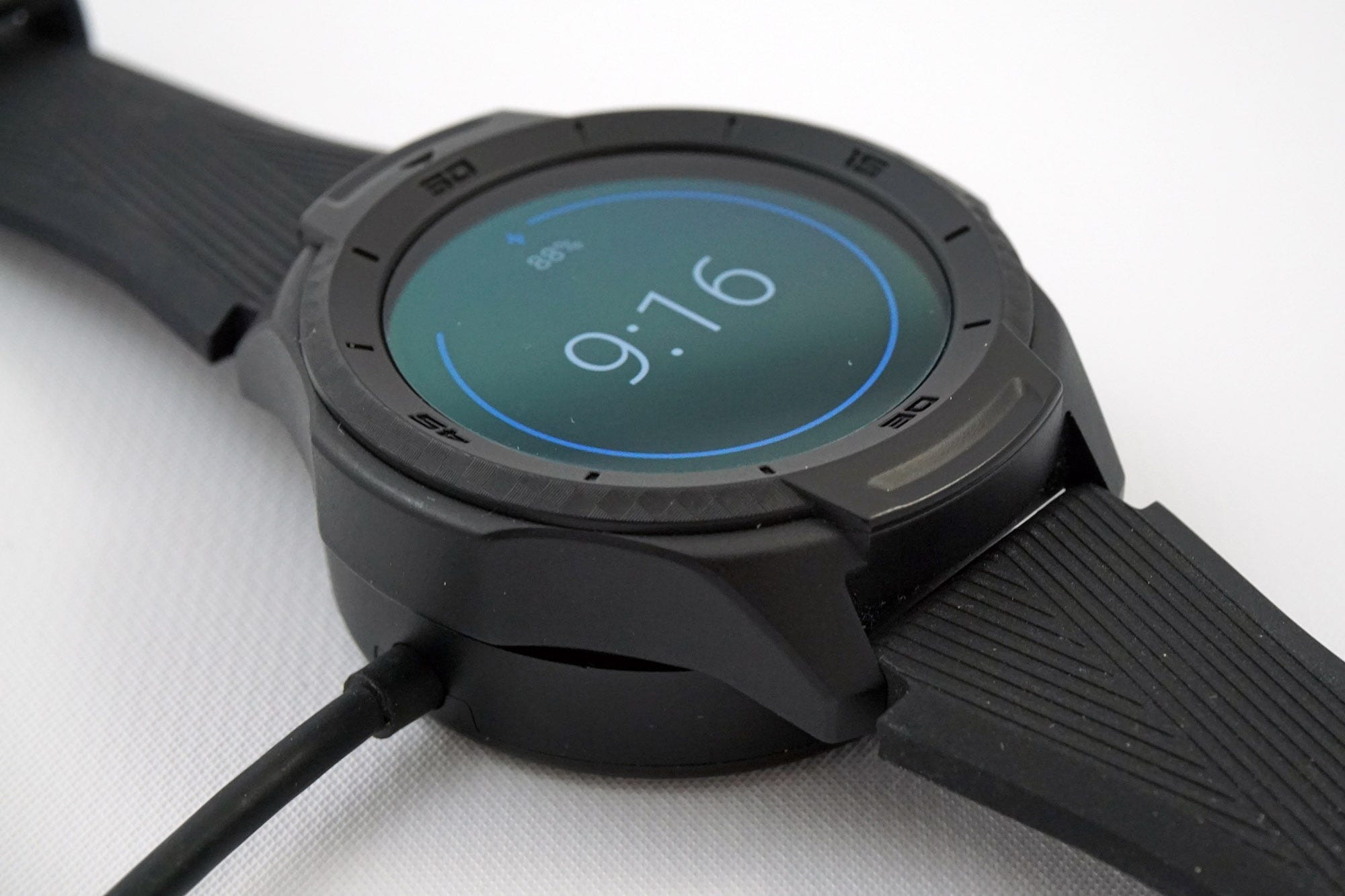 The watch recharges quickly on the included, but proprietary, charger.