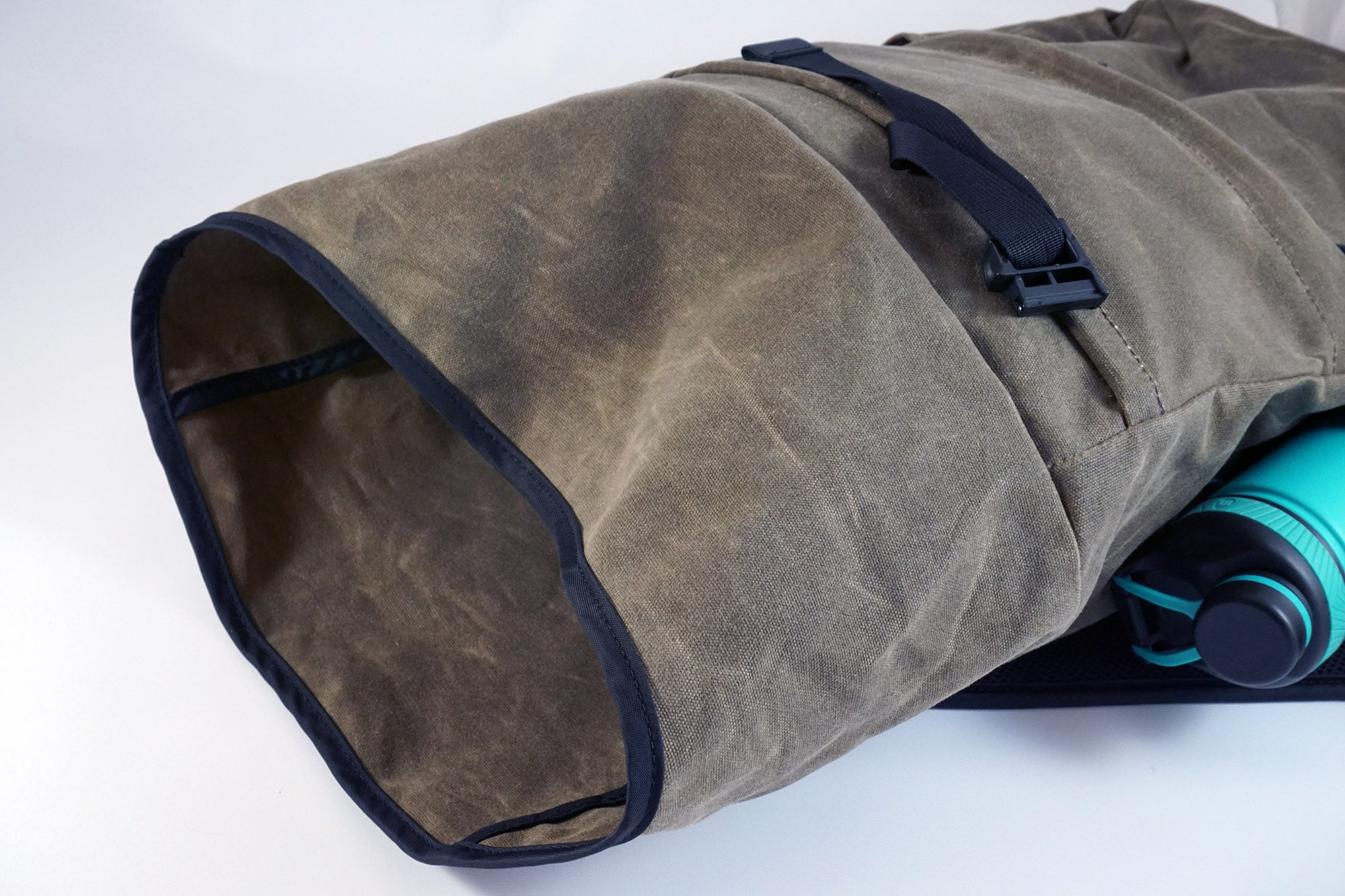 The bag rolls out for a massive maximum capacity of 15 liters.