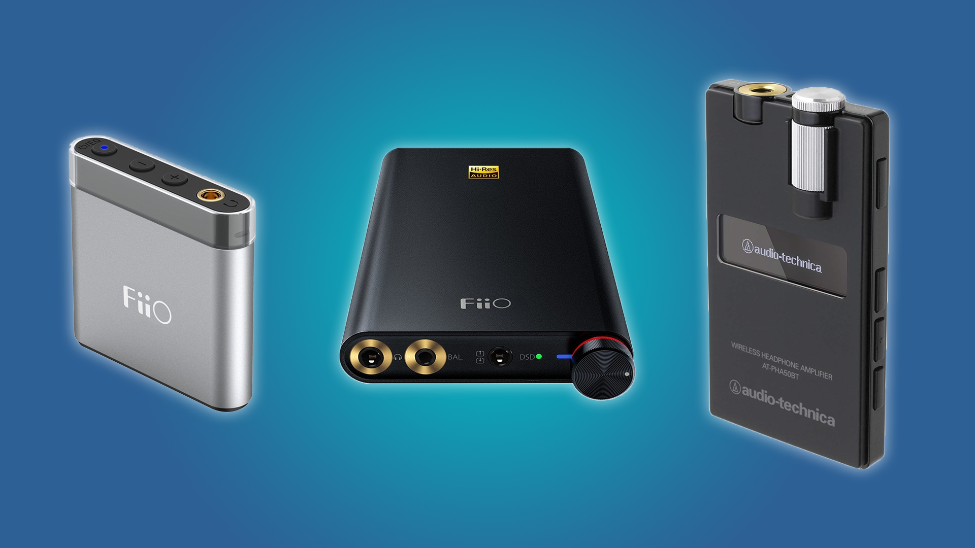 The FiiO A1, the FiiO Q1 Mark II, and the Audio-Technica Wireless DAC