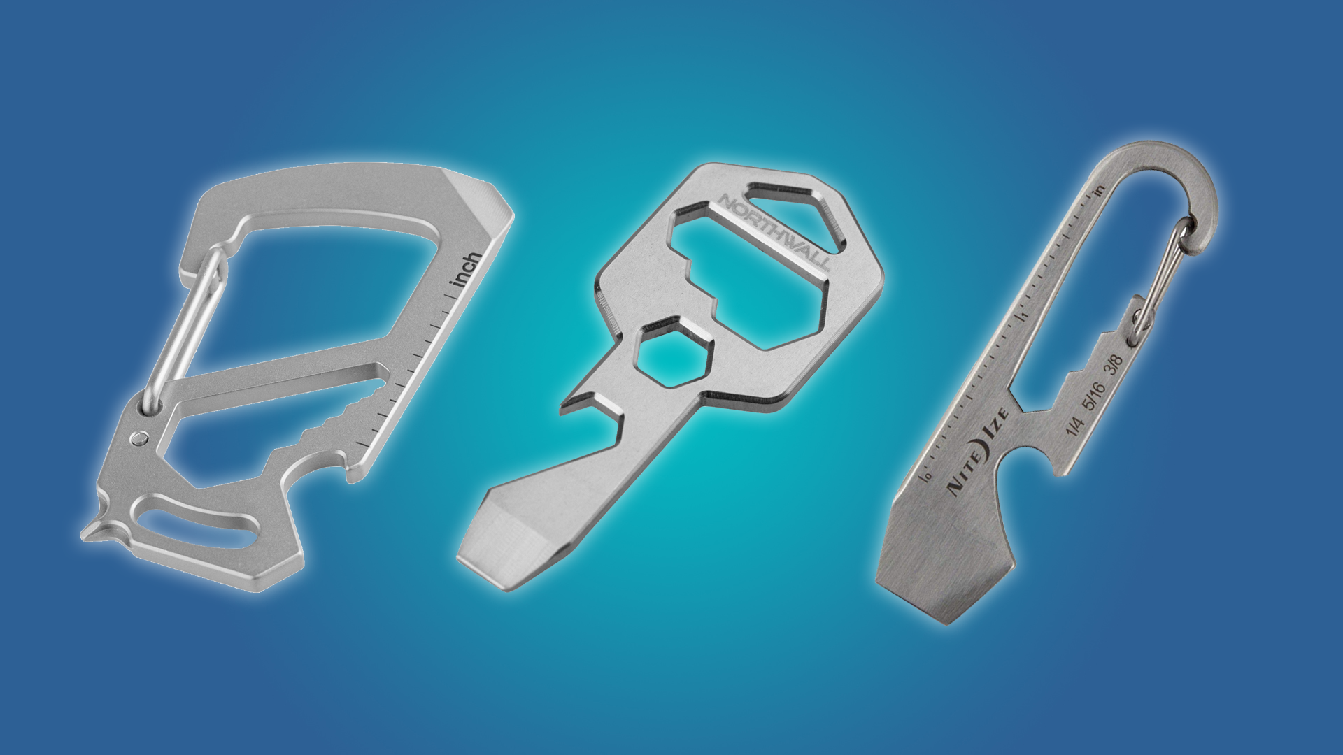 The Northwall Key Shaped Multi-Tool, the Northwall carabiner Multi-Tool, and the Nite Ize DoohicKey Multi-Tool