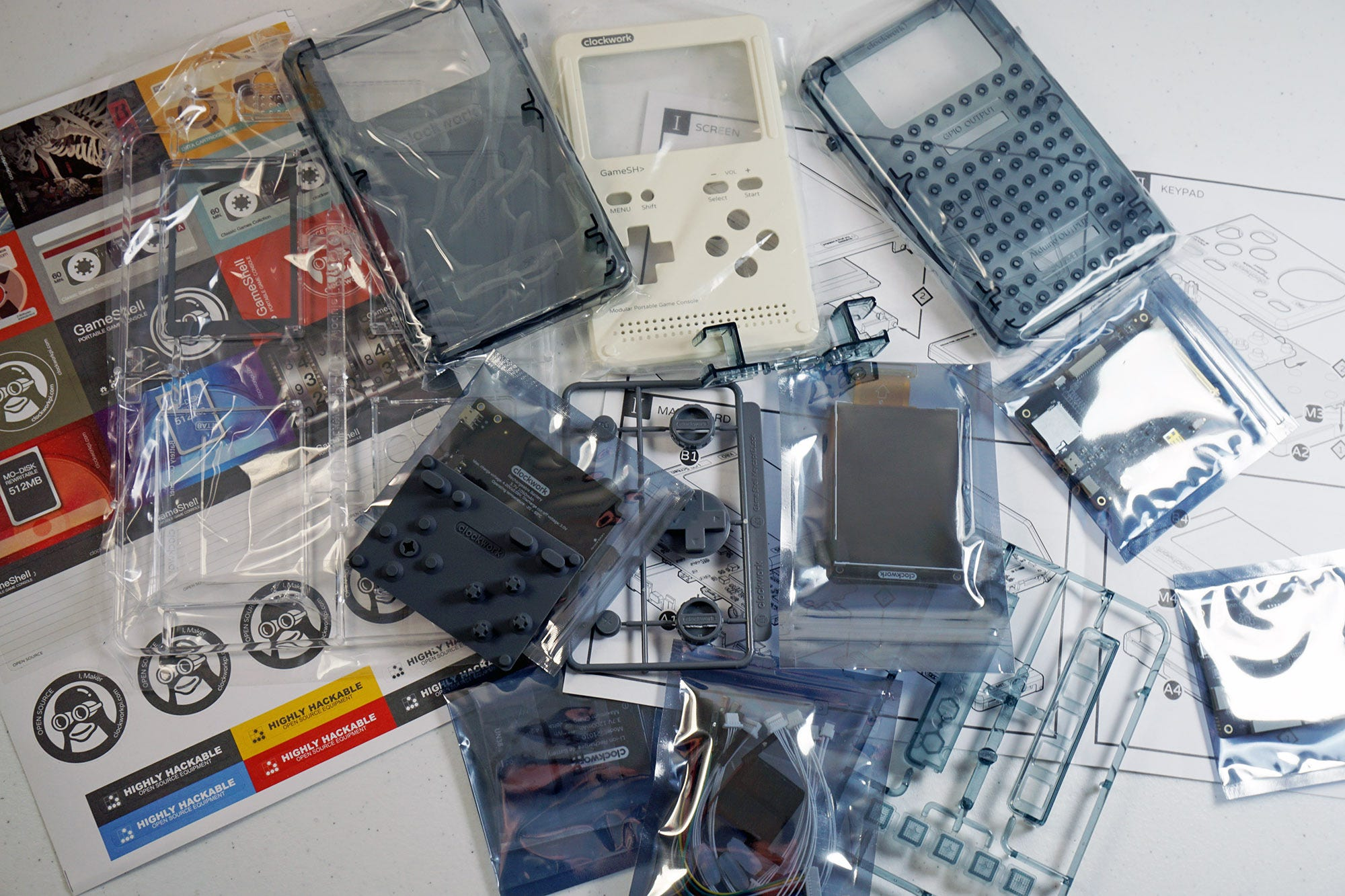 The various bits and pieces of the GameShell, prior to assembly.