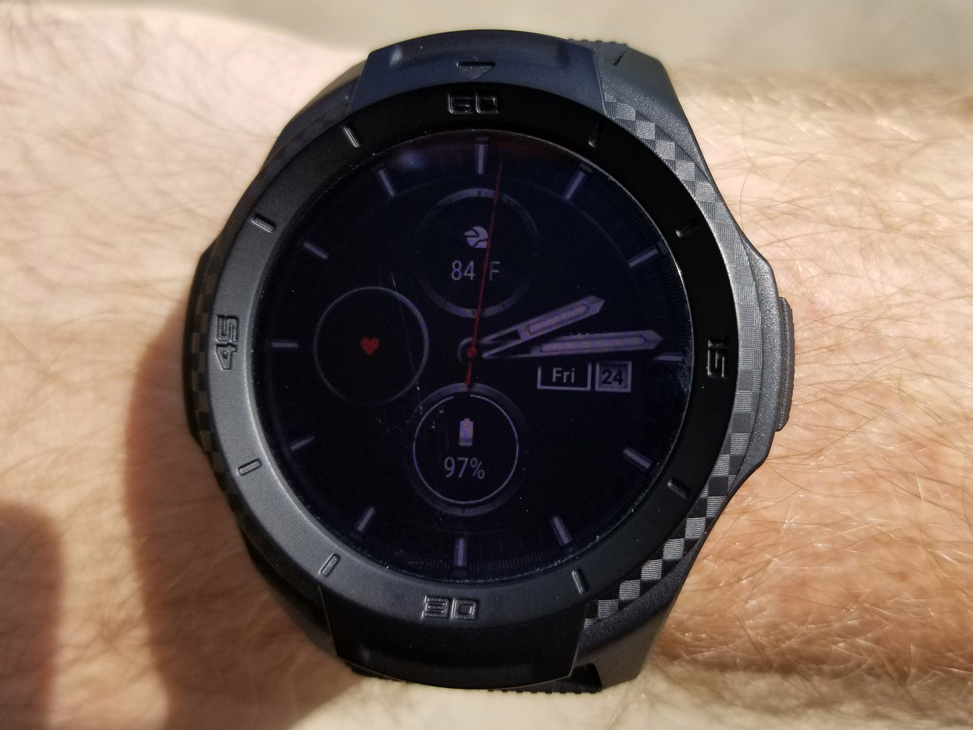 In direct sunlight the TicWatch S2's OLED screen is a little hard to see.