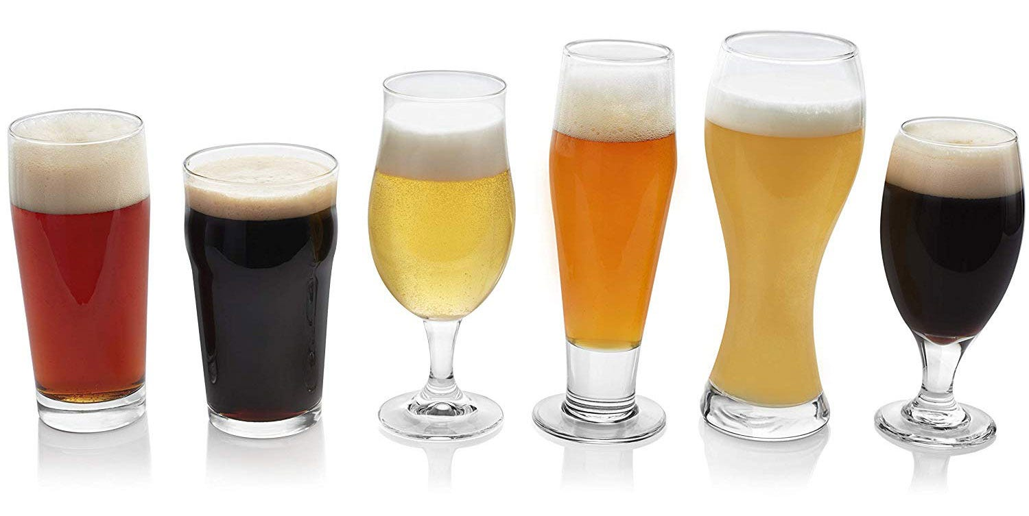 A variety of beer glasses will prepare your recipient for properly pouring any brew.