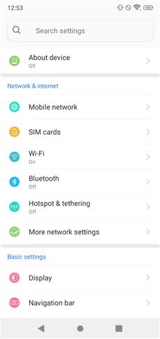 Blu G9 settings menu