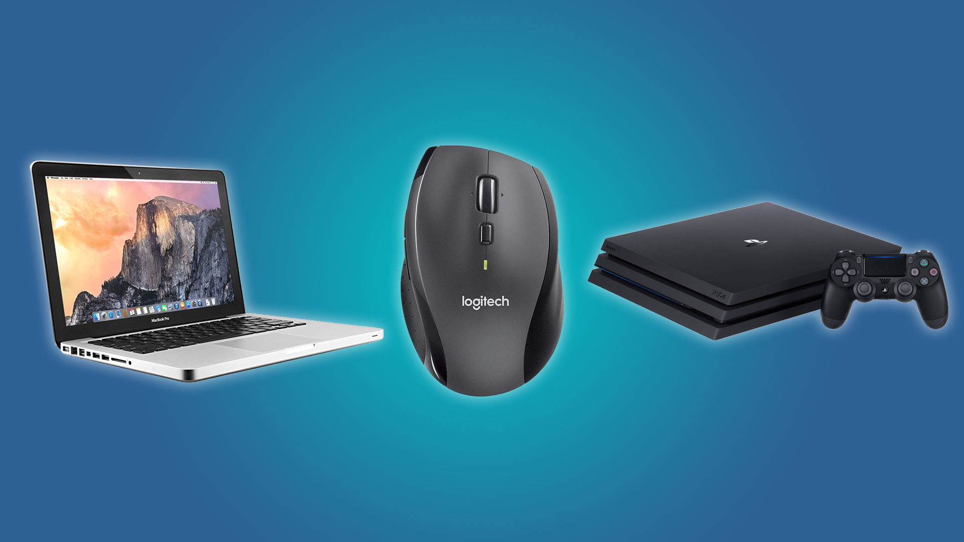 The MacBook Pro, the Logitech Marathon Mouse, and the PlayStation 4