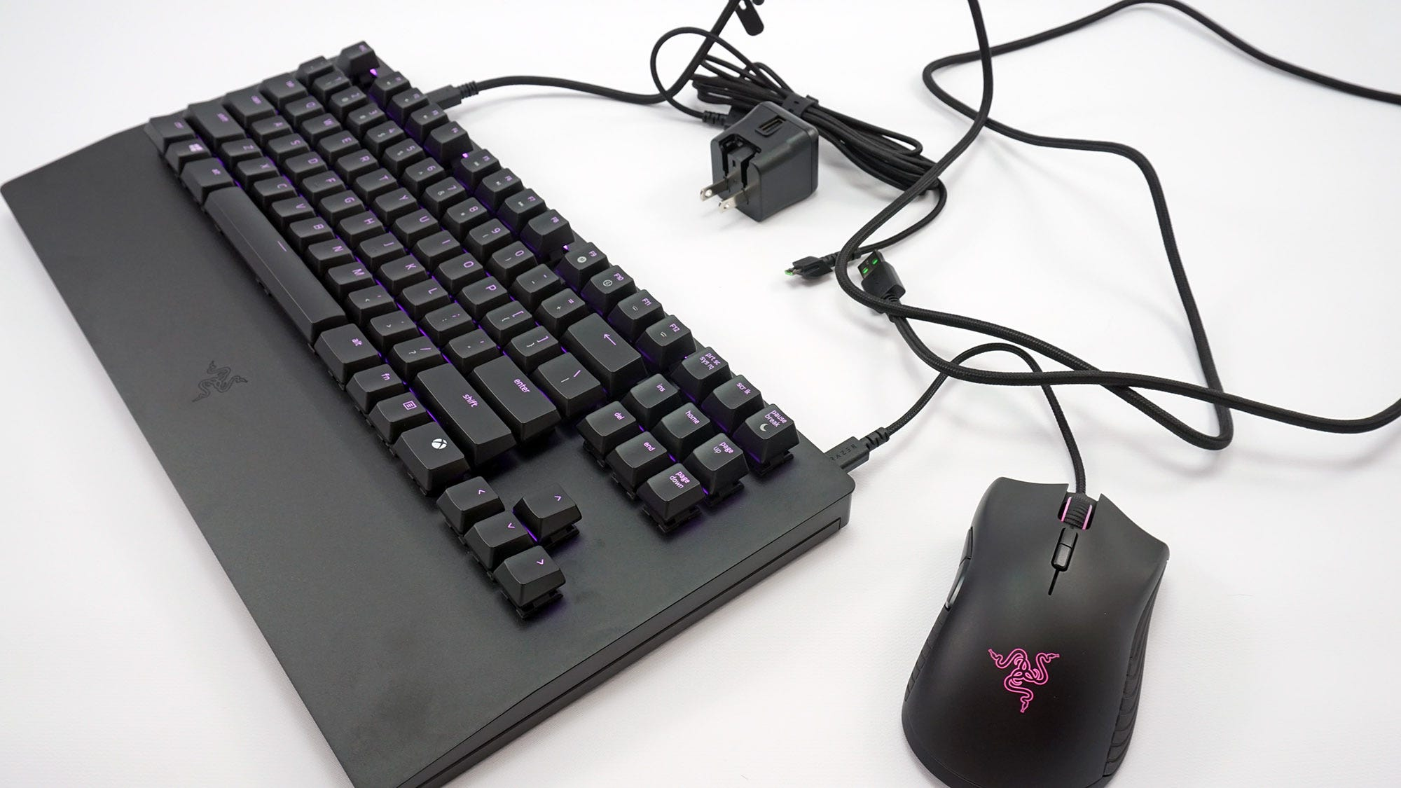 The Turret keyboard, mouse, three charging cables, wall wart, and wireless USB receiver.