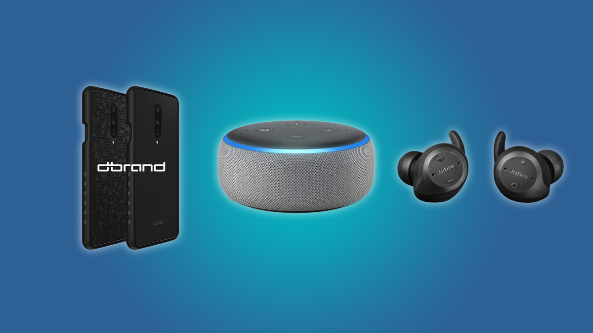The Echo Dot, the Jabra Elite Wireless Earbuds, and the dbrand Skins