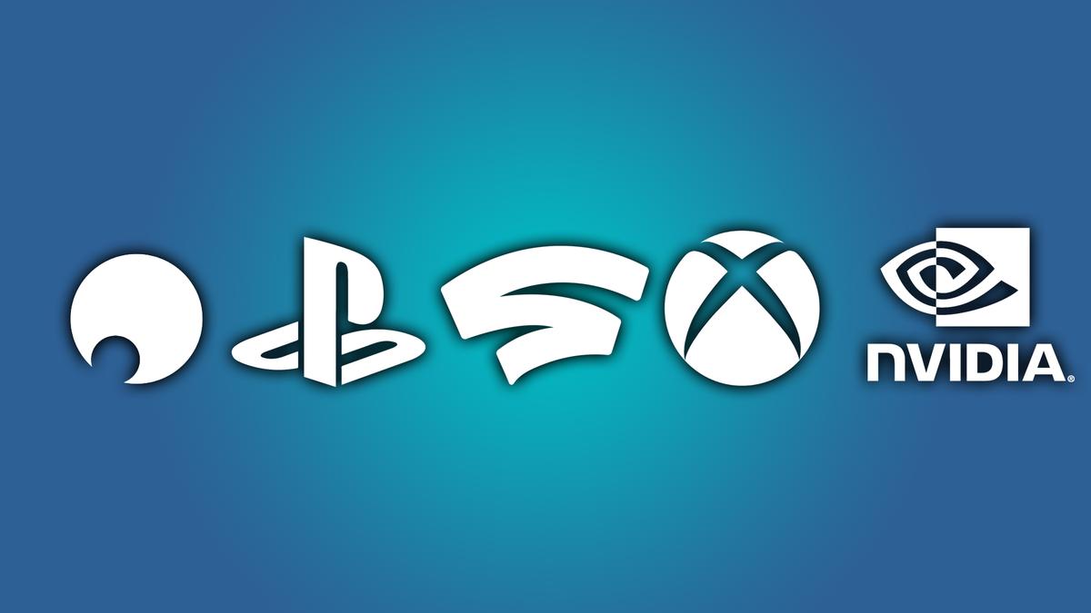 The logos for Shadow, PlayStation, Stadia, Xbox, and Nvidia