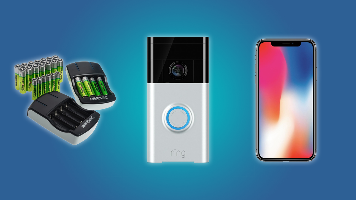 The Ring Video Doorbell, the iPhone X, and the Rayovac AA + AAA Battery Bundle