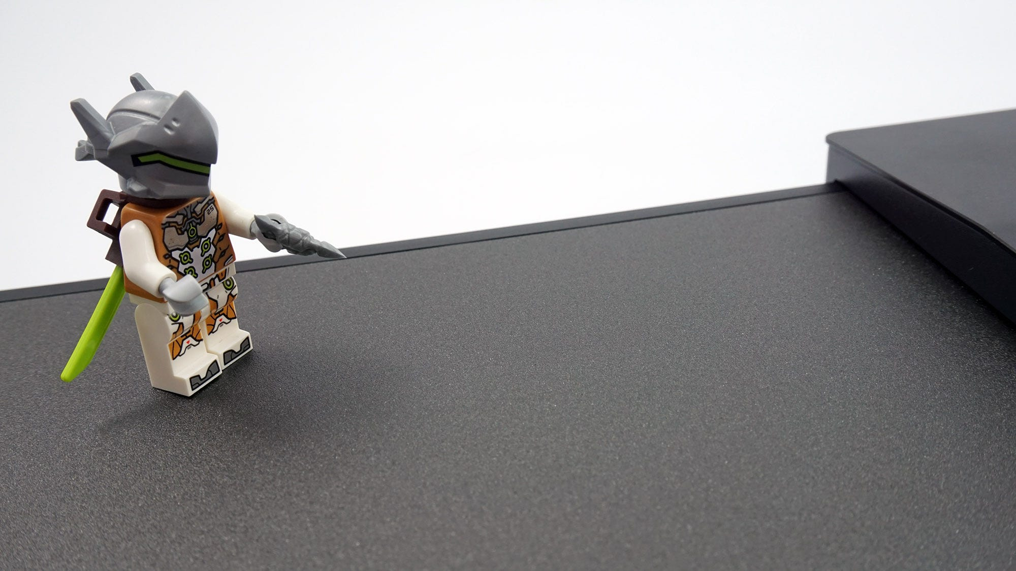 Close-up of an action figure on the Turret mousepad.