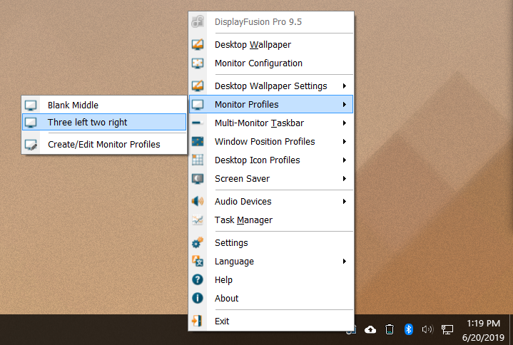 Pre-set profiles can be applied via the taskbar or hotkeys.