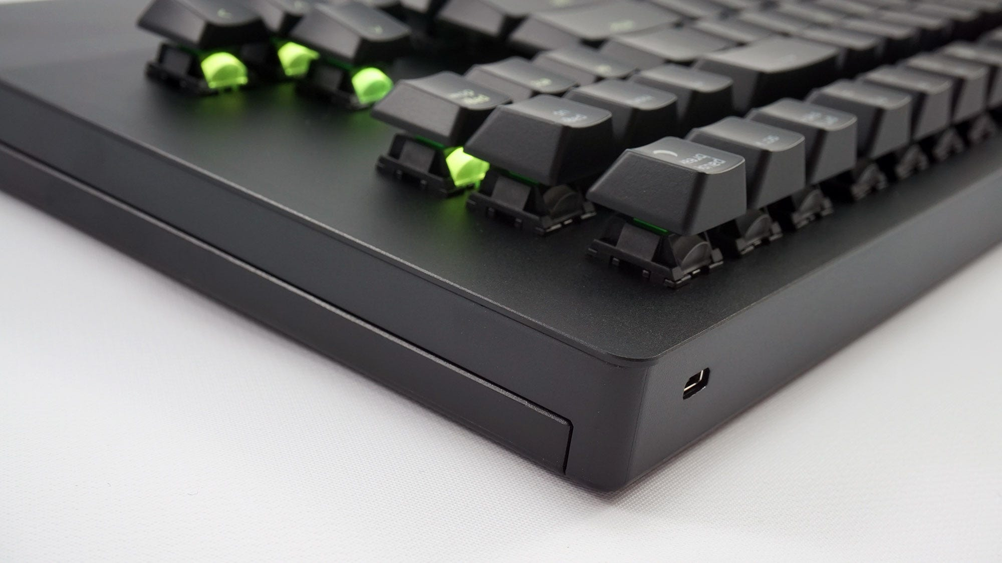 A close-up side view of the metal deck on the Turret keyboard