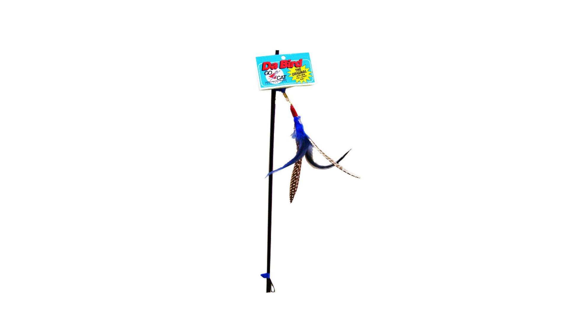 The Da Bird feather string toy.