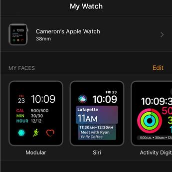 Apple Watch face settings