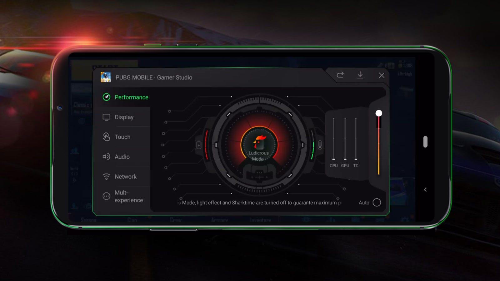 A Black Shark phone Performance menu set to Ludicrous Mode.