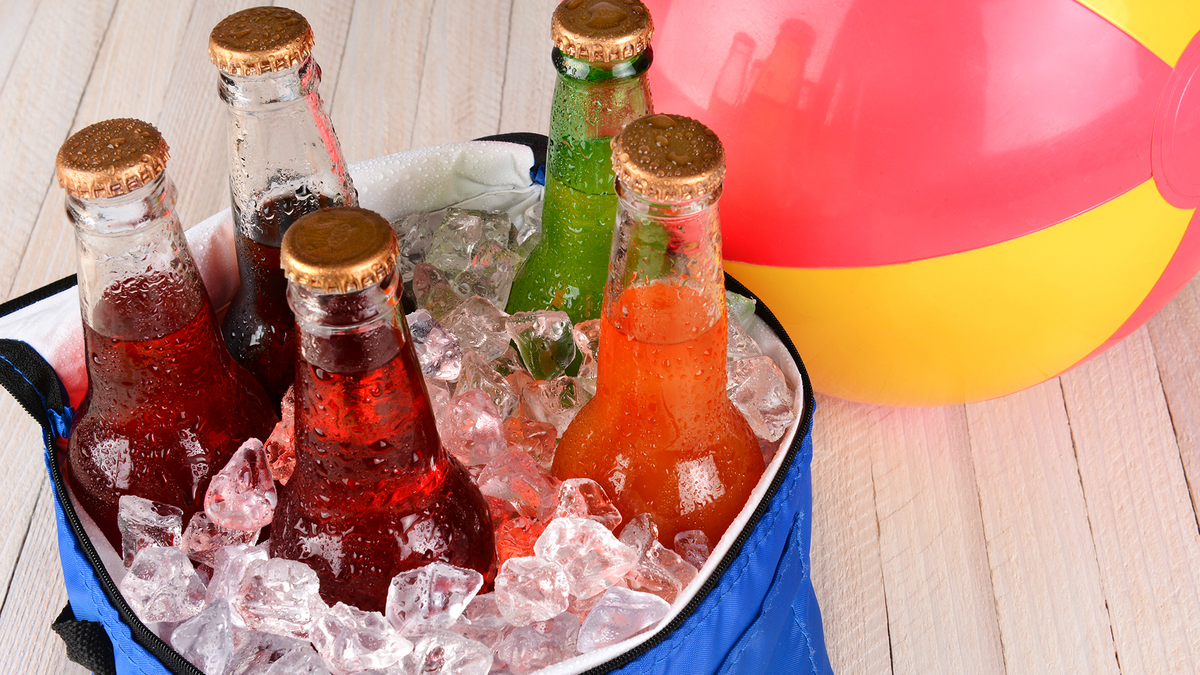 A few drinks with some ice in a soft cooler.