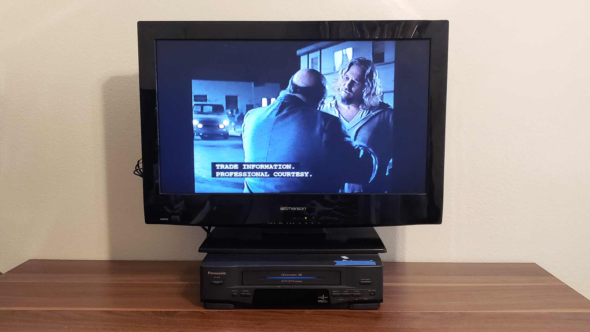 A picture of an HD TV playing a The Big Lebowski VHS tape.