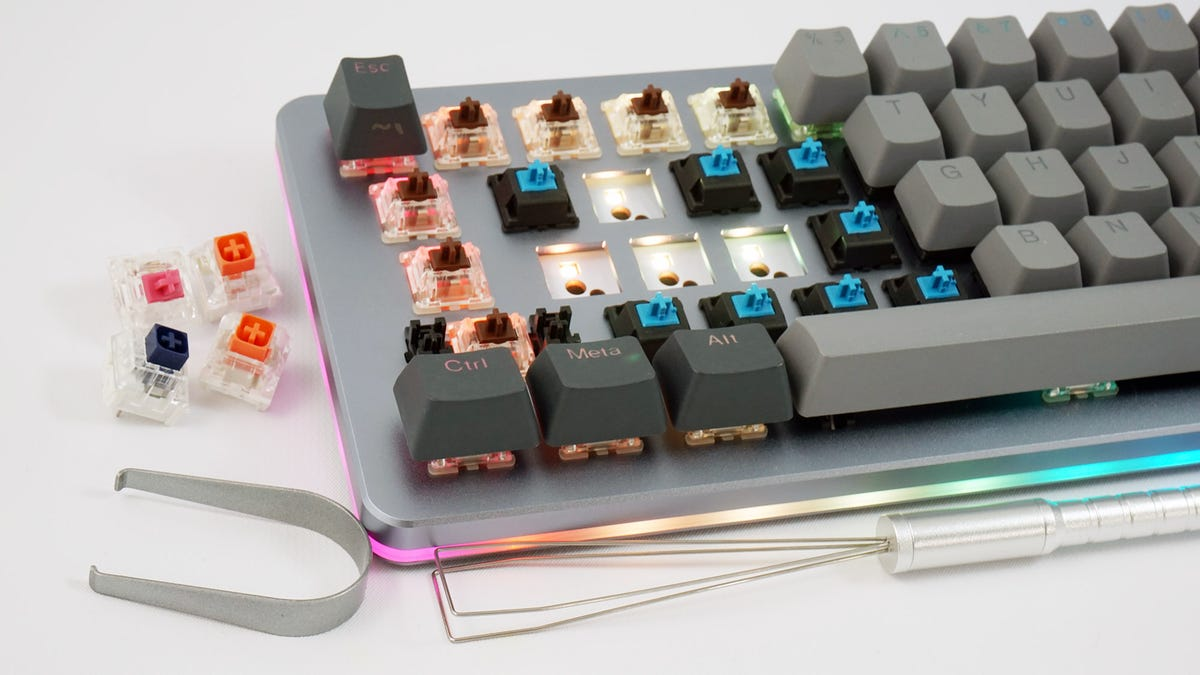 The Massdrop ALT keyboard with some keys removed.