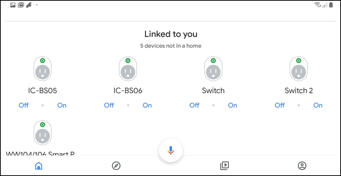 Google Home screen showing the iClever plugs and the On and Off options.