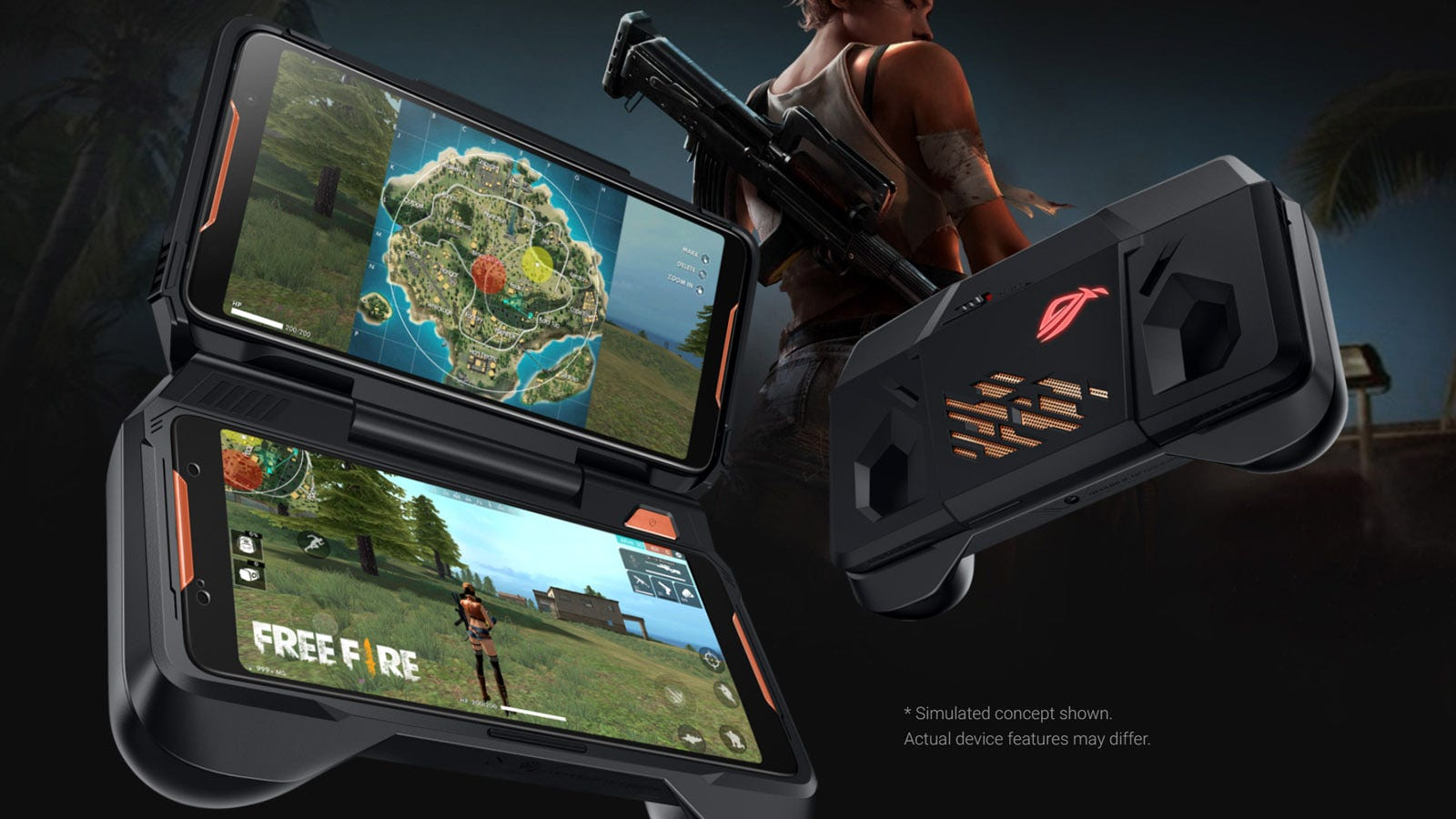 Asus ROG Phone in its optional case, showing the second screen.