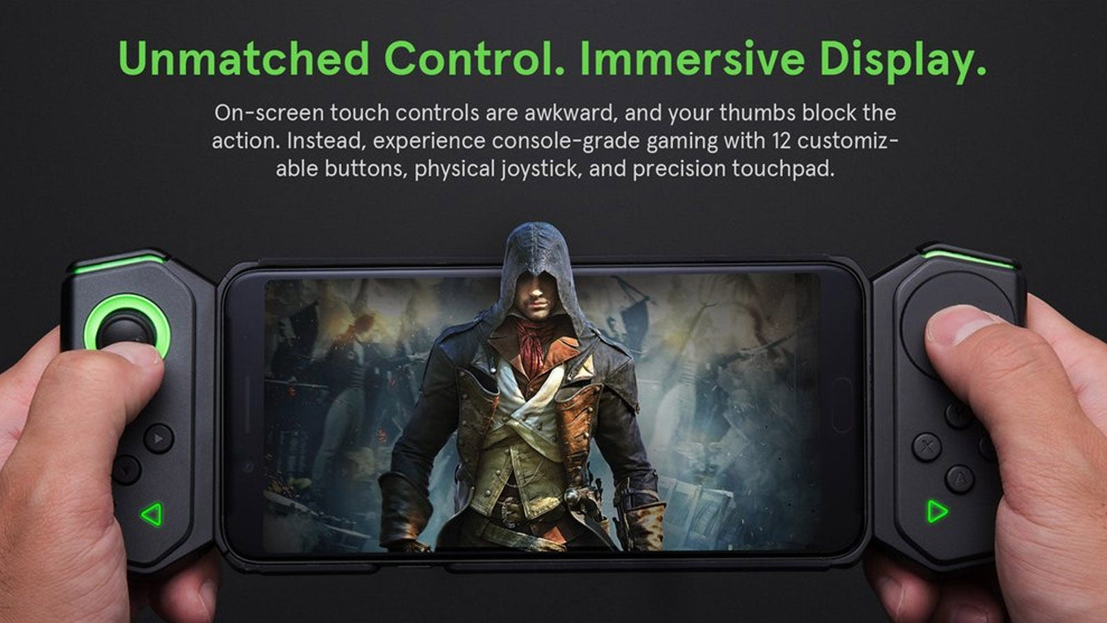 Black Shark phone with dual Bluetooth controllers attached.