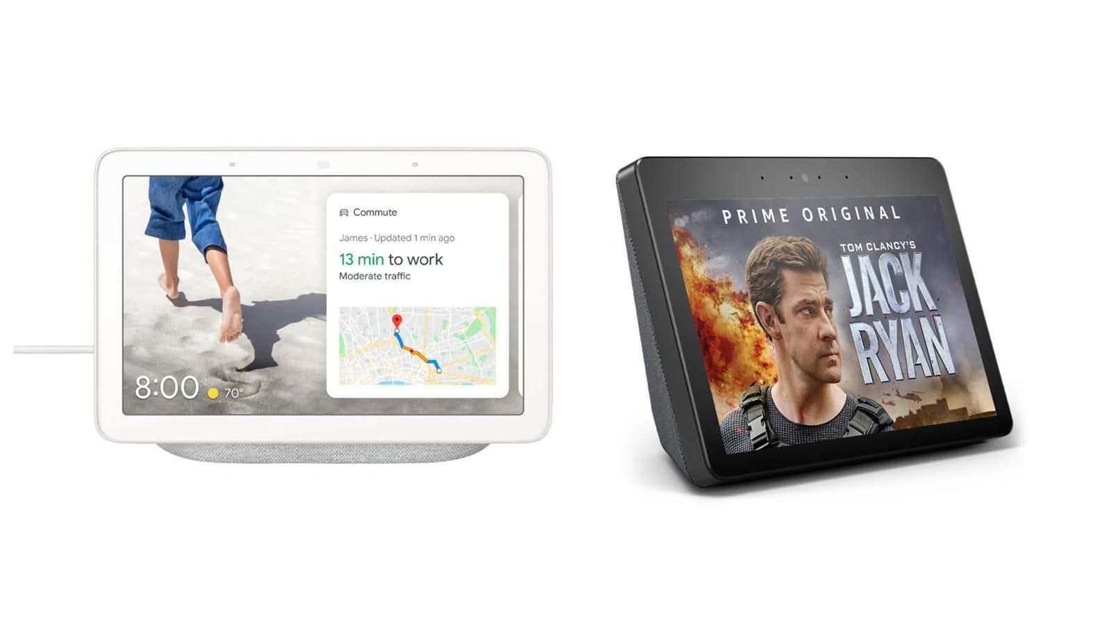 A Google Nest Hub and Amazon Echo Show.