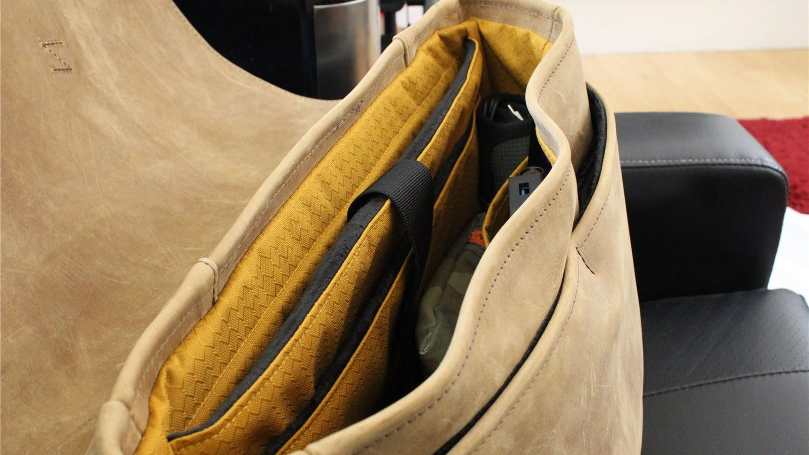 The inside of the WaterField Executive Leather Messenger