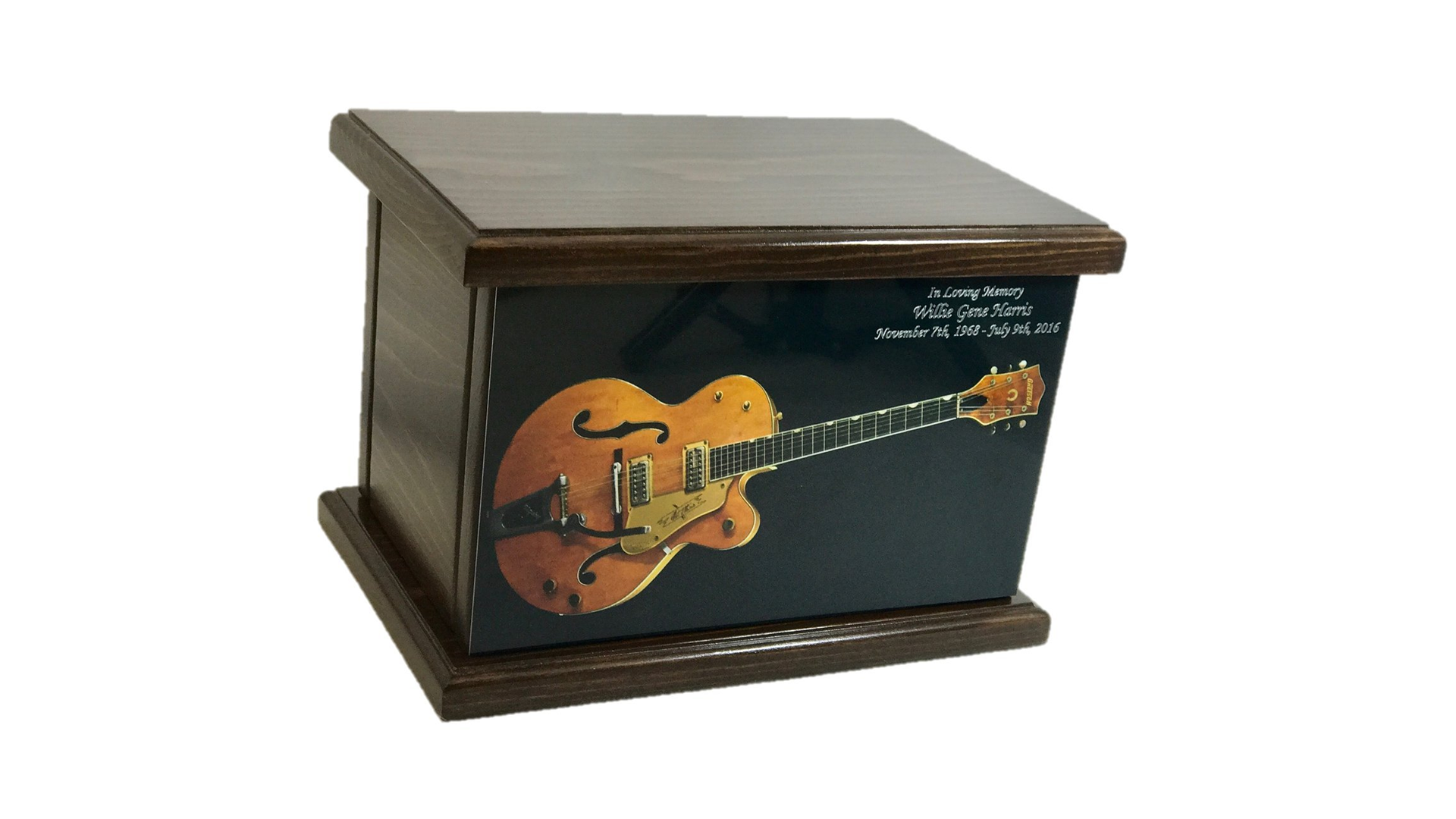 A rectangular wooden urn with an image of a hollow body Gretsch guitar on the front.