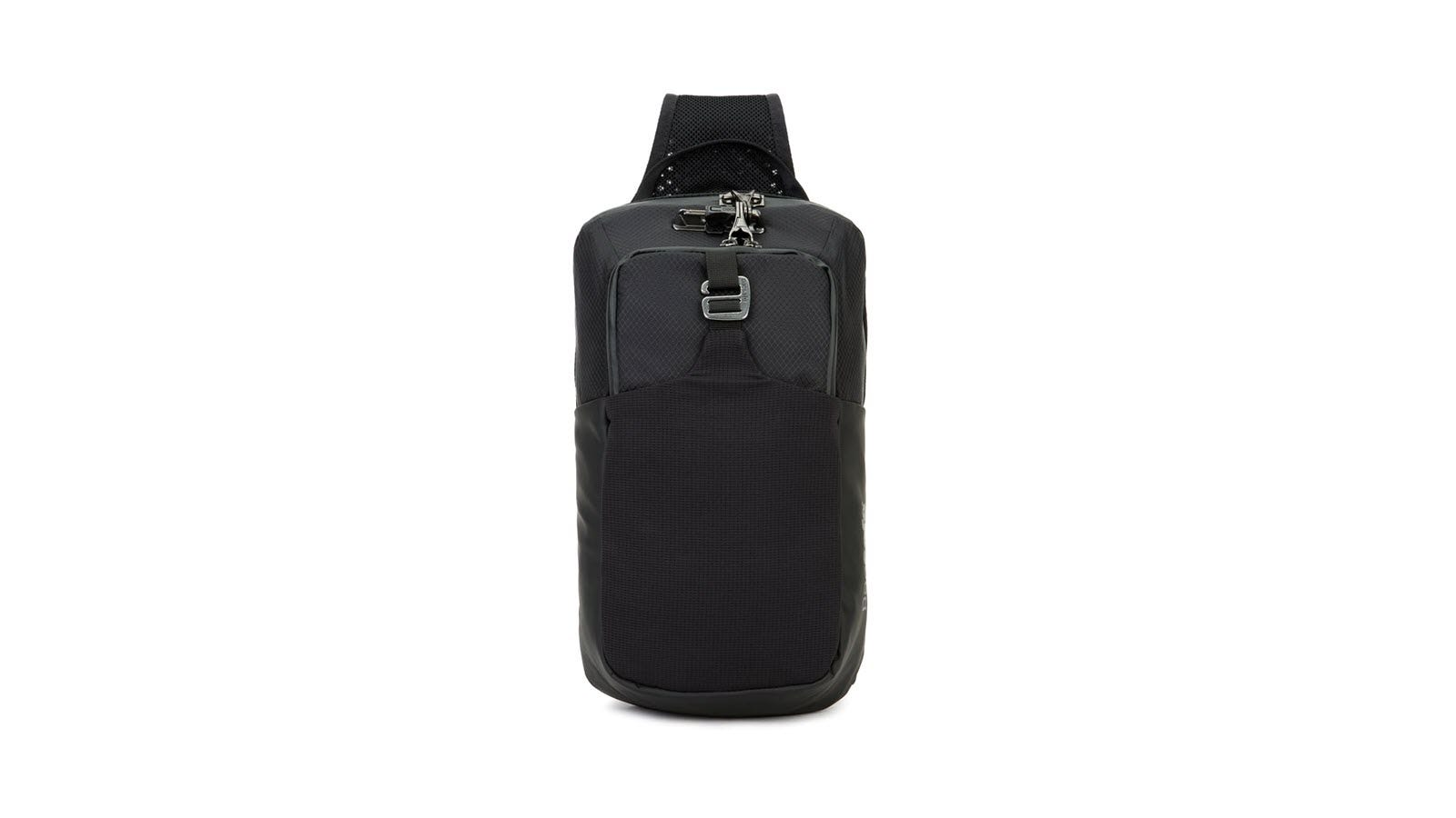 Pacsafe Unisex Venturesafe X Anti-Theft Sling Pack seen from the back, in black.