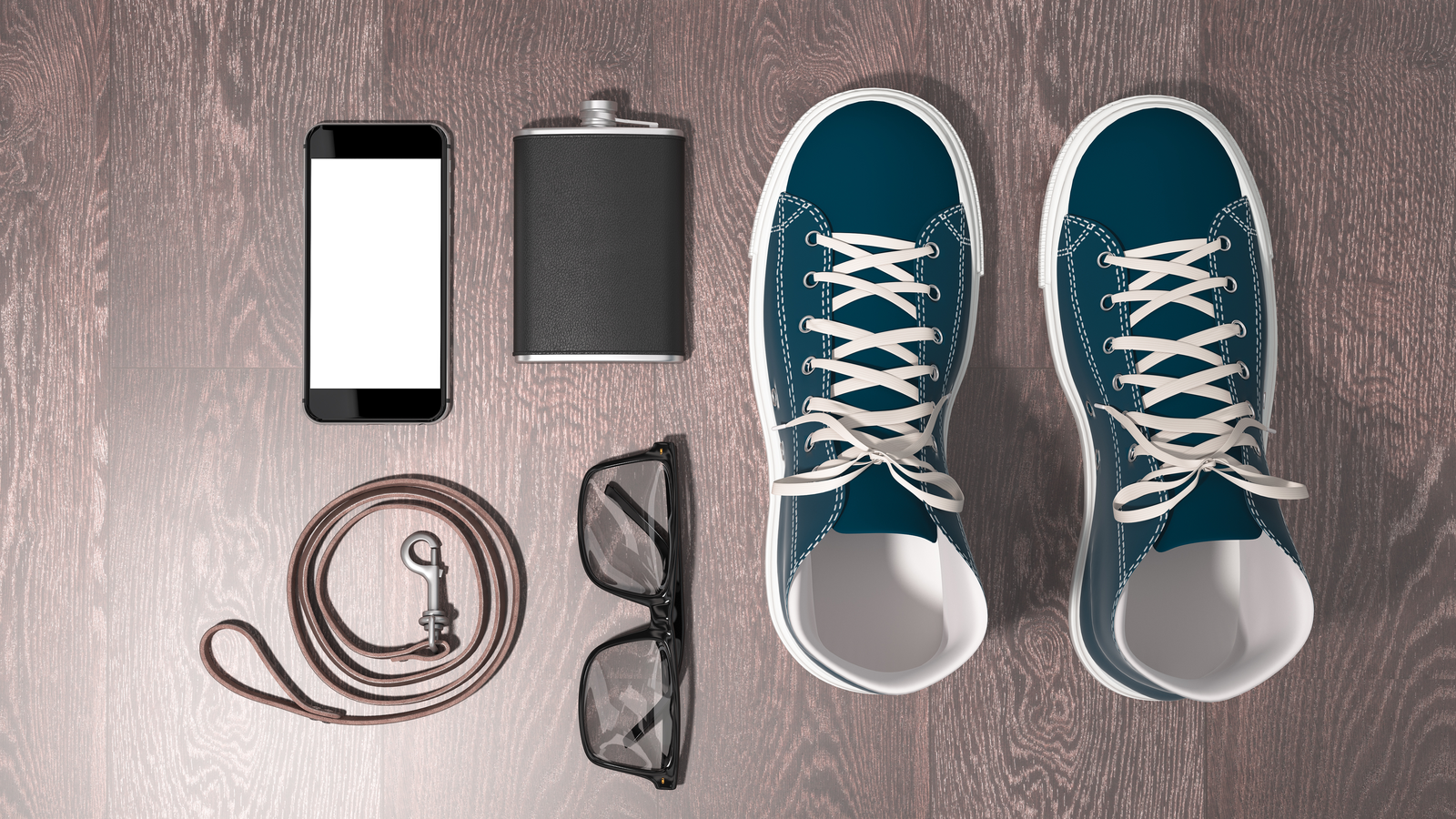 Every day carry man items collection: glasses, leash, sneakers. High resolution.