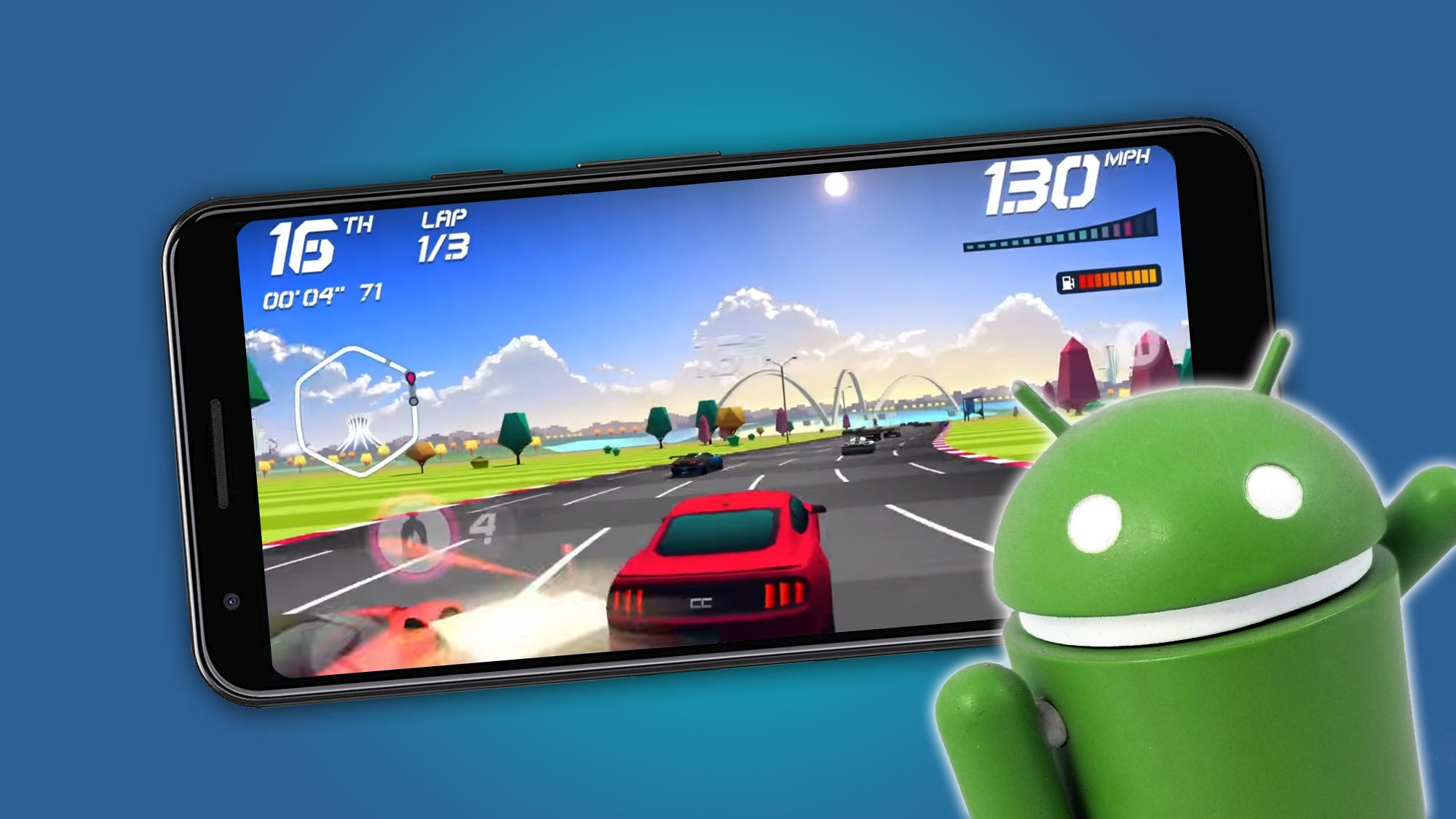 A racing game being played on a phone.