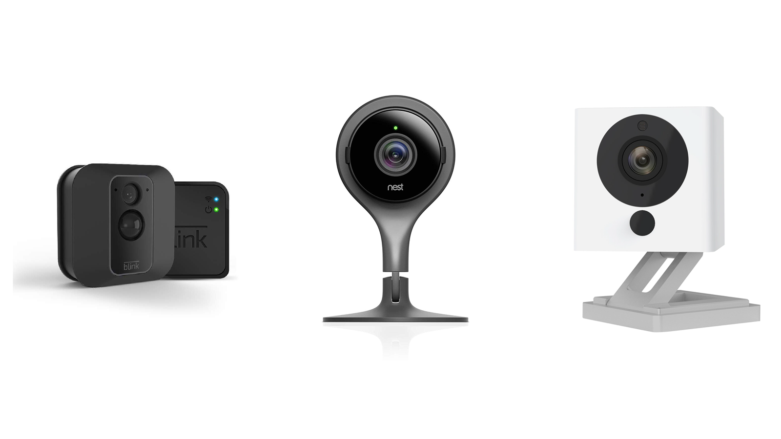 A Blink, Nest, and Wyze camera side by side.