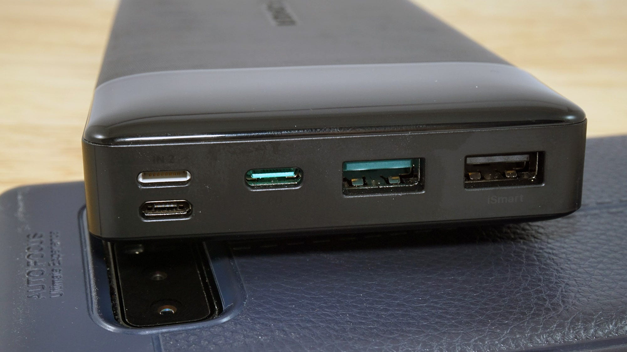 The battery can accept power from Lightning, USB-C, and MicroUSB cables.