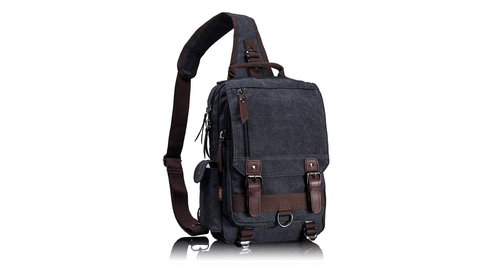 Leaper Retro Sling Bag shown in blue with brown straps.